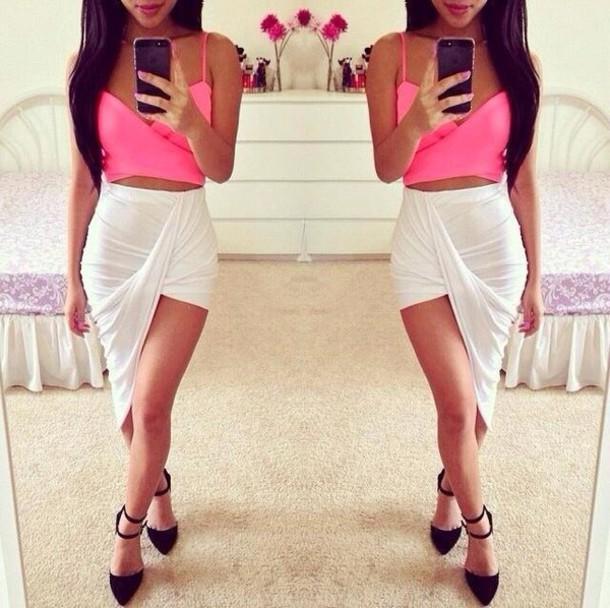 skirt white blouse pink