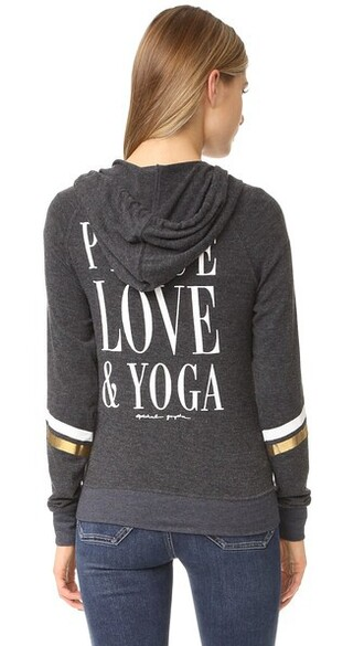 hoodie vintage beach love peace yoga black sweater