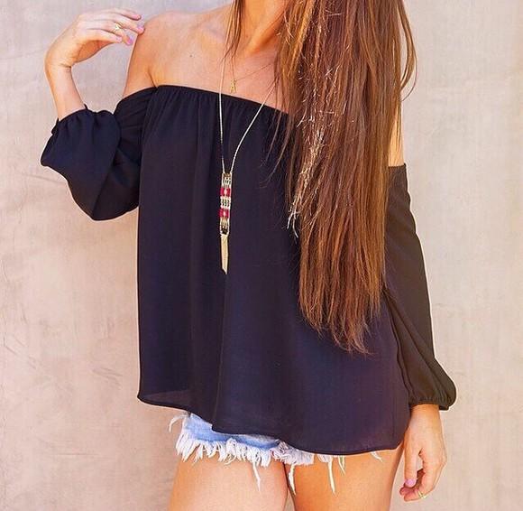 blouse black blouse cute top summer top