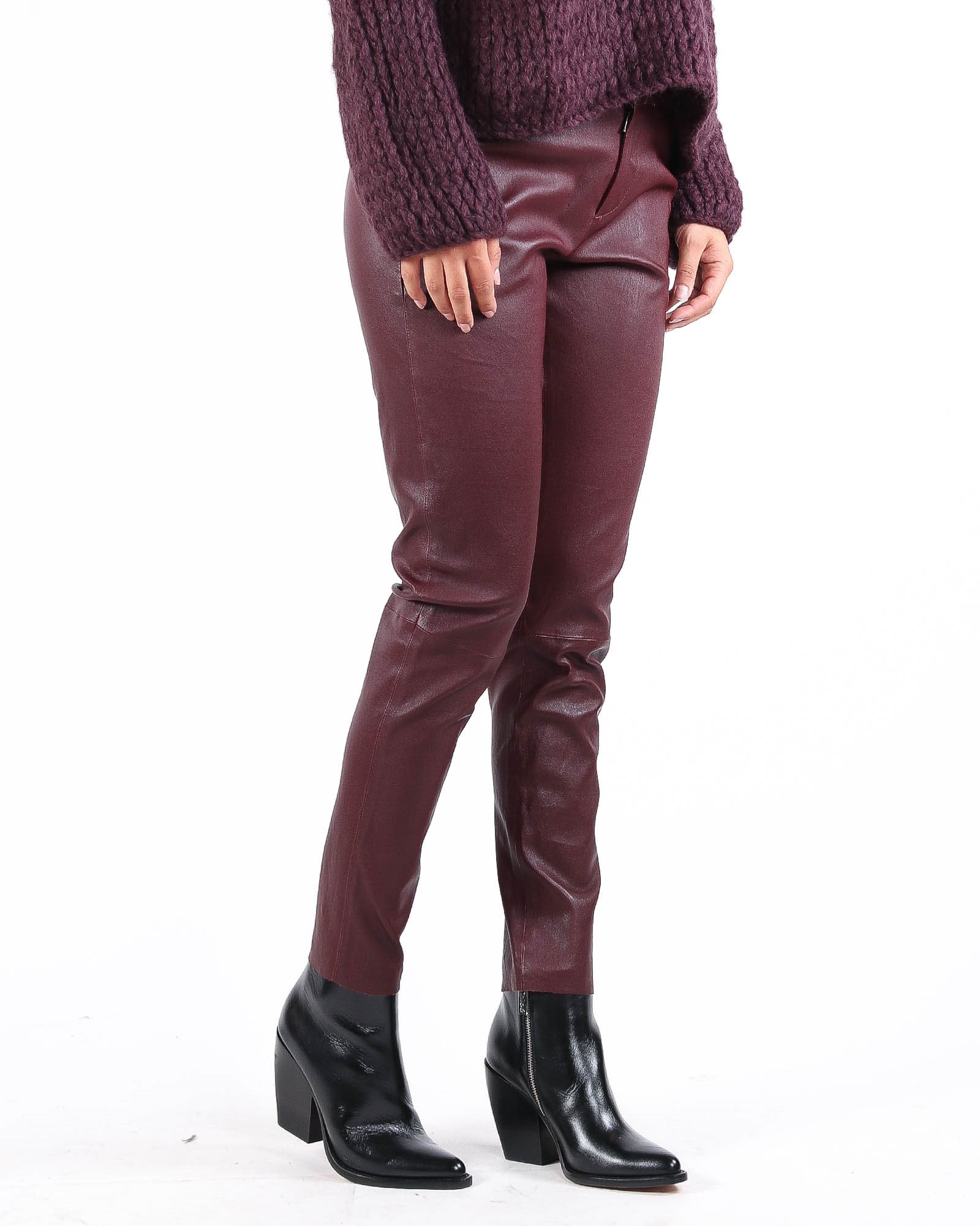 DNA Bordeaux red leather pants - Artishock Luxury and exclusive fashion