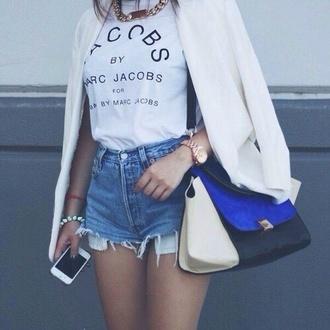 t-shirt shirt shorts bag marc jacobs