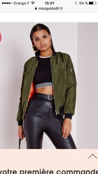 top misguided crop tops jacket green camouflage coat supreme tumblr army green jacket army green bomber jacket green bomber jacket olive green bomber jacket supreme jacket versace soft ghetto
