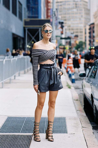 vanessa jackman blogger shoes leather shorts waist belt long sleeve crop top crop tops off the shoulder off the shoulder top gladiators summer outfits