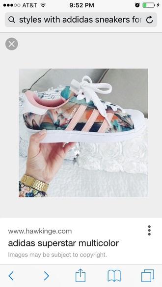 shoes adidas adidas superstars multicolor