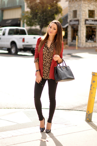 leopard print hapa time blogger jacket jewels bag red jacket
