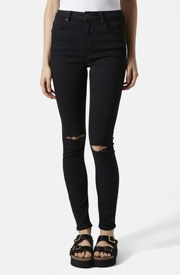 Topshop Moto 'Jamie' Ripped Skinny Jeans (Black) (Regular & Short)