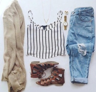 cardigan jeans pants jewelry shoes stripes