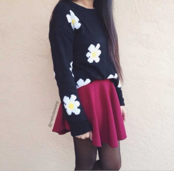 sweater floral skirt daisy hipster crop
