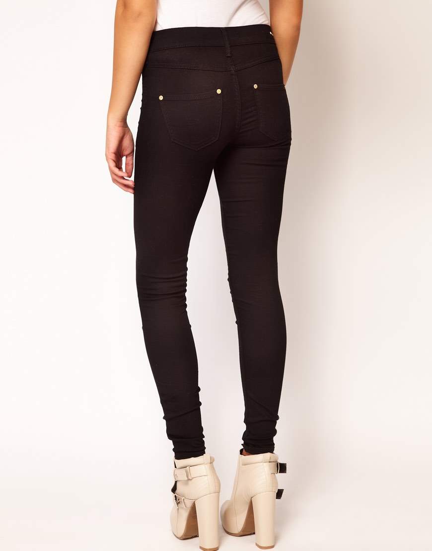 River Island Molly Skinny Jean In Black Denim at asos.com