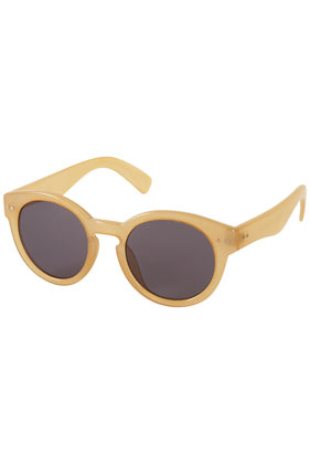 Yellow curved flat top sunglasses