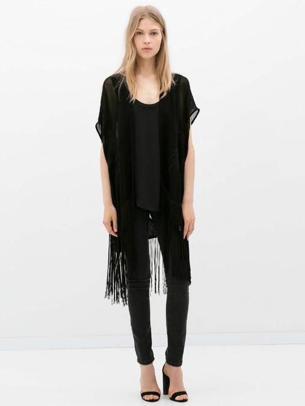 Women's stylish sleeveless bat sleeve black fringed embroidered vest cardigan