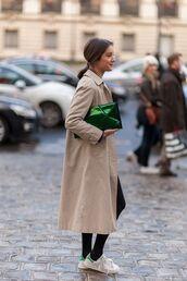 bag,clutch,metallic clutch,green bag,trench coat,nude coat,sneakers,white sneakers,stan smith,adidas shoes,adidas,coat