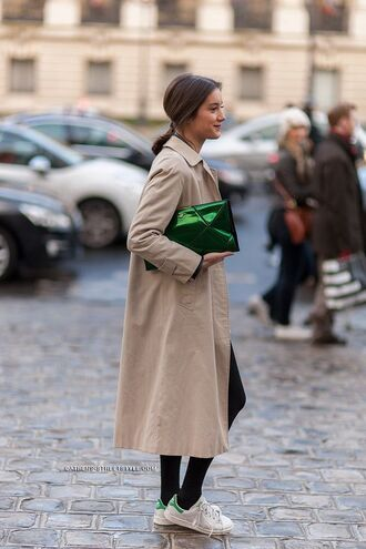 bag clutch metallic clutch green bag trench coat nude coat sneakers white sneakers stan smith adidas shoes adidas coat