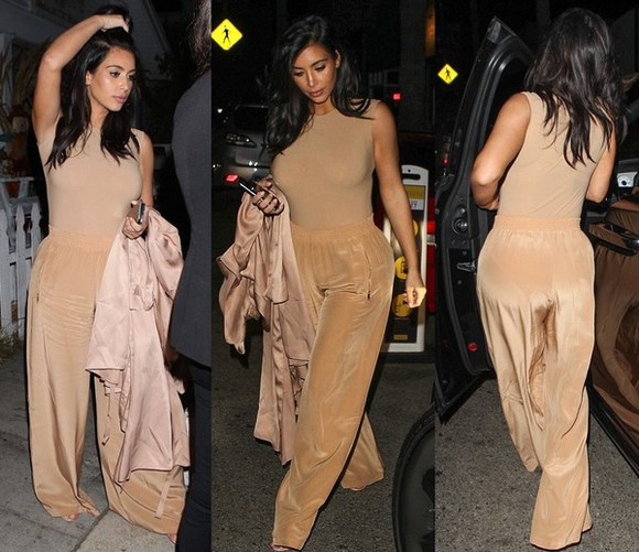 top nude bodysuit kim kardashian pants