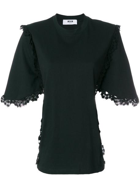 t-shirt shirt t-shirt women lace cotton black top