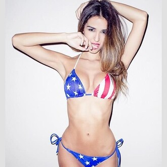 swimwear trendyish american flag bikini stripes stars two-piece sexy instagram