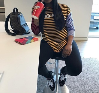 shirt celebrity shirt striped top clothes pants blogger