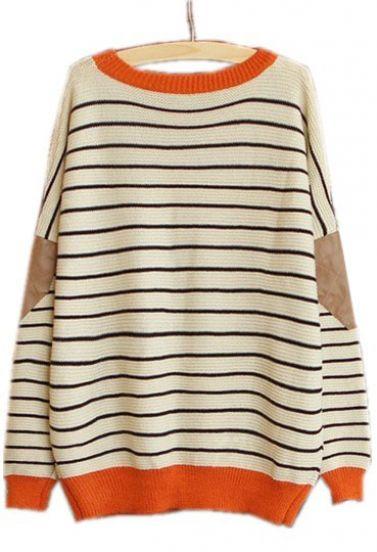 Beige contrast leather long sleeve striped sweater