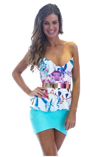 Floral multi strapless peplum top