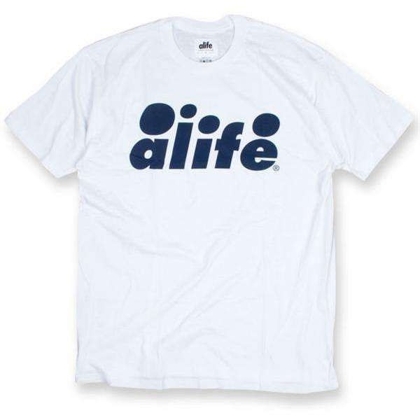 Alife Bubble Logo T-Shirt - White-Blue, Alife T-Shirts - Polyvore
