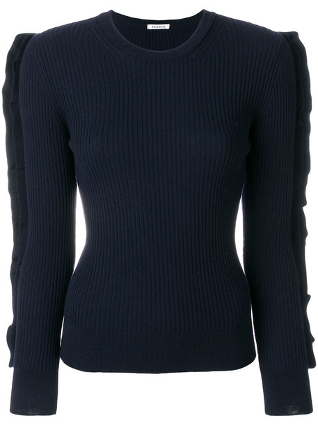 P.A.R.O.S.H. P.A.R.O.S.H. - frill sleeve ribbed top - women - Wool - M, Blue, Wool