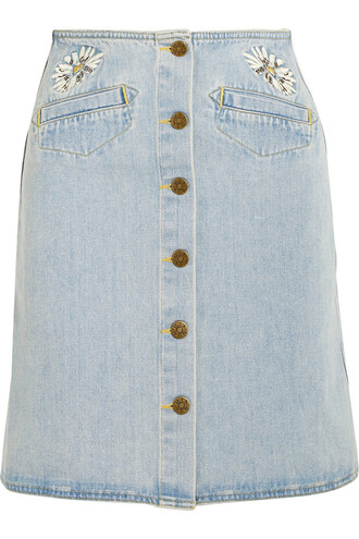 skirt mini skirt denim mini embroidered