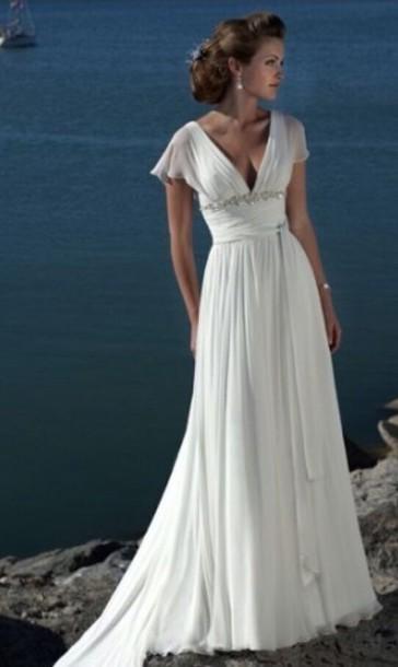 dress wedding beach cap sleeves