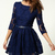 Dark Blue Zipper V-back Sunflower Lace Skater Dress - Sheinside.com