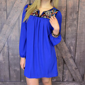 dress,royal blue dress,embroidery detail,exposed back,long sleeve dress,versatile dress
