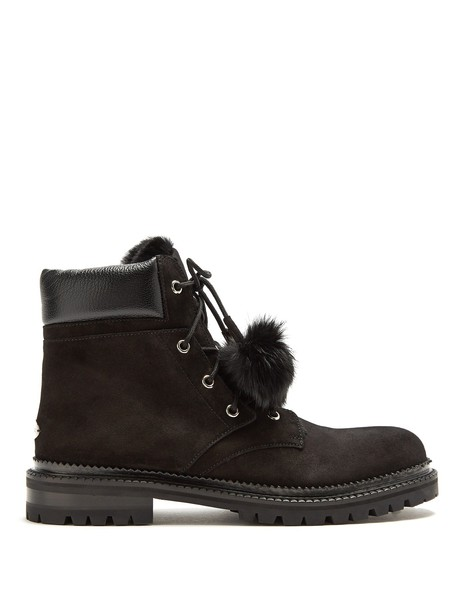 Jimmy Choo fur ankle boots suede black shoes