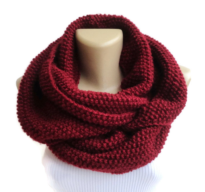 burgundy knitted infinity scarf Knit scarf women infinity chunky hood circle neckwarmer , winter scarf fashion accessory senoAccessory