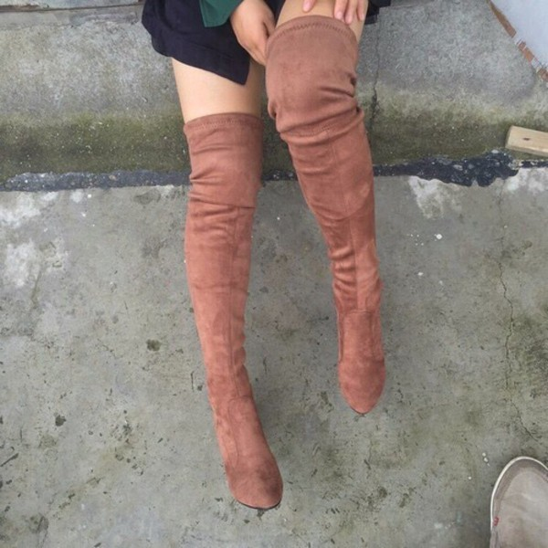 a81584fb862 Crush Hard Faux Suede Thigh-High Boots OLIVE GREY NUDE TAUPE MAROON ...