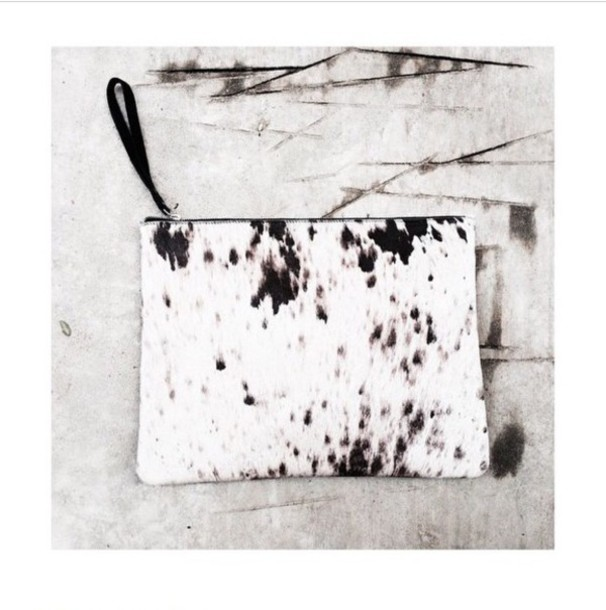 bag print black and white clutch