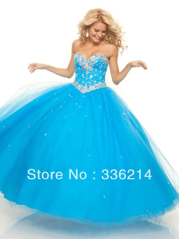 Nieuwe ball gown sweetheart tule satijn vloer  lengte blauwe kralen quinceanera jurken 2013