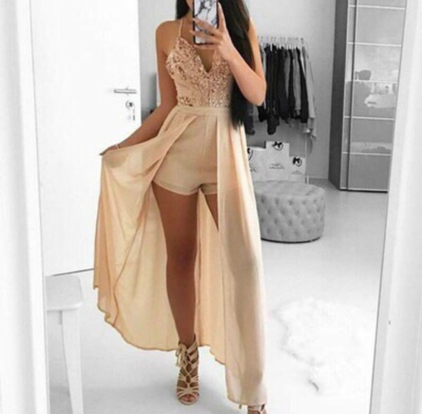 jumpsuit, gold, khaki, romper, dress, glitter
