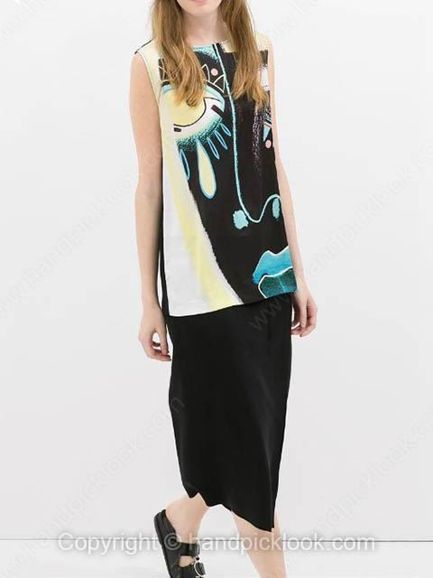 Black Round Neck Sleeveless Face Print Backless T-Shirt - HandpickLook.com
