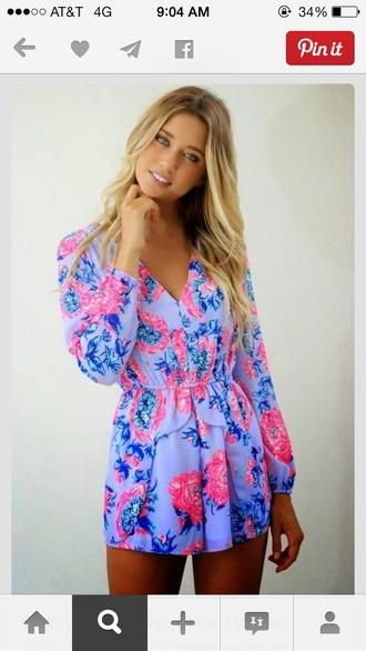 jumpsuit purple floral romper long sleeves long sleeve lace dresses v neck shorts floral romper dress