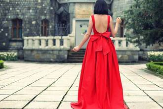 dress red gown red dress bows backless dress prom dress
