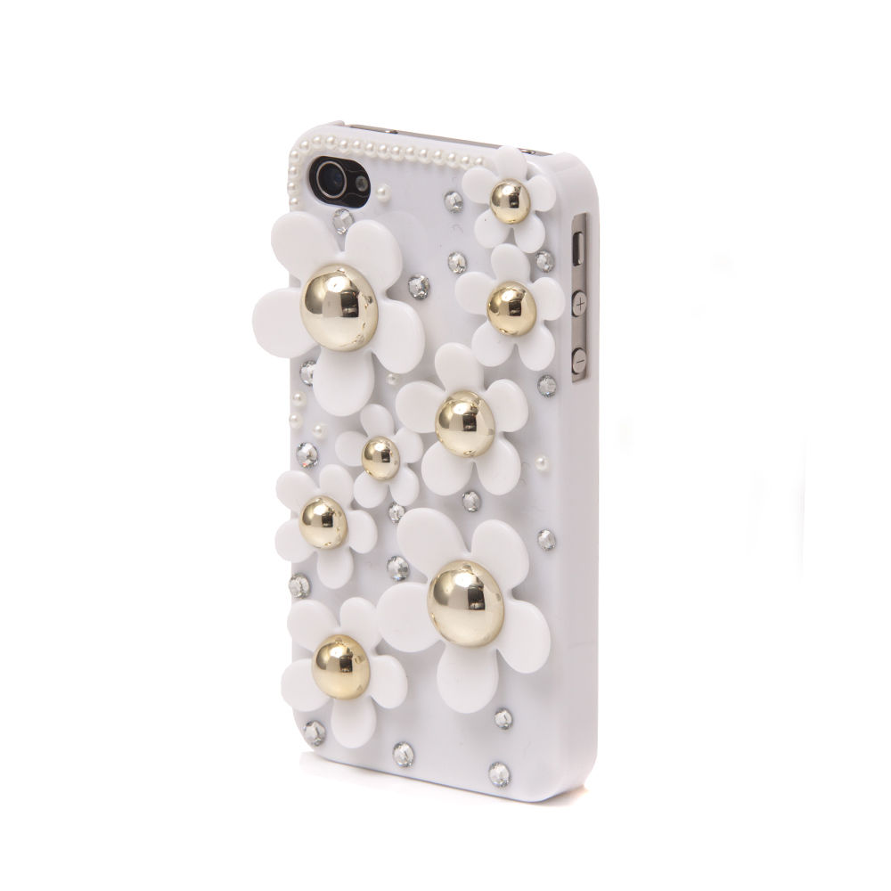 Handmade Daisy Pearl and Crystal Diamond Bling Flower Case Apple iPhone 4 & 4S