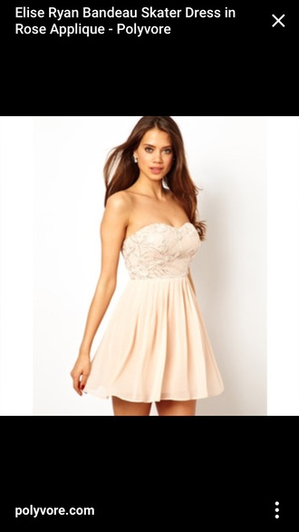 dress rose appliqué elise ryan skater strapless