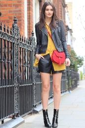 peexo,blogger,jacket,shirt,shorts,shoes,bag,patent boots,yellow shirt,yellow,mustard,black leather jacket,leather jacket,red bag,tassel,leather shorts,boots,black boots,ankle boots