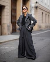 jacket,blazer,check blazer,wide-leg pants,high waisted pants,boots,black blouse,sunglasses,earrings,shoulder bag