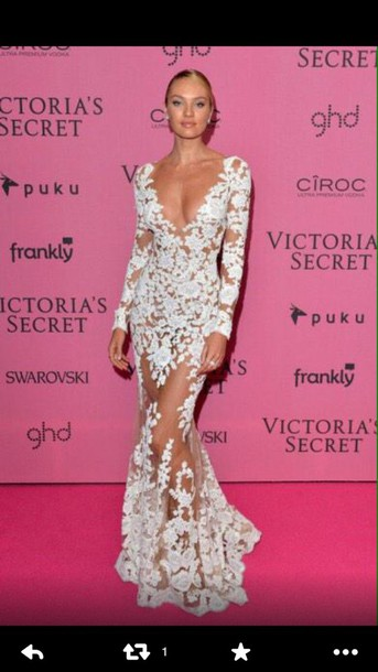 candice swanepoel lace dress gown white dress dress