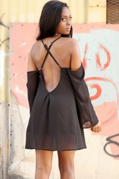 dress,open back dresses,criss cross back,off the shoulder,off the shoulder dress,black dress,black chiffon dress,bell sleeves,bell sleeve dress,hipster,girl,clothes,los angeles,california,la style