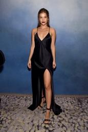 dress,black,silk,barbara palvin,long,slit,slip dress,silk dress