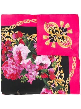 women scarf floral silk purple pink
