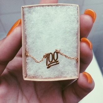 jewels 100 100 emoji emoji necklace emoji petite chain gold chain charm 100 charm gold necklace gold necklace