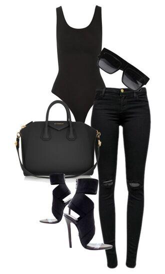 bag black ripped jeans black bodysuit strappy heels sandal heels strappy sandals givenchy bag black sunglasses j brand celine all black everything outfit fashion trendy polyvore