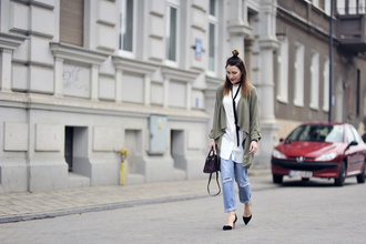 shiny sil blogger shirt top shoes jacket jeans bag jewels