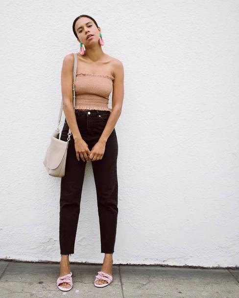 jeans top crop tops black jeans denim black denm shoes